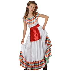 Atosa-69094 Disfraz Mejicana, color blanco, 10 a 12 años (69094)