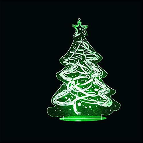 WJPDELP-YEDE 3D Weihnachtsbaum Modellierung LED Urlaub Nachtlichter 7 Farben Baby Schlaf Beleuchtung Kinder Tischlampe Nacht Dekor -