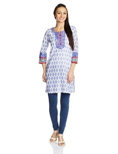 Rangriti Women's Cotton White Straight Kurta (VB-153_White_32)