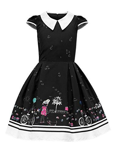 BlackButterfly Kinder 'Olivia' Vintage Sunshine Mädchen Kleid im 50er-Jahre-Stil (Schwarz, 7-8 J / ()
