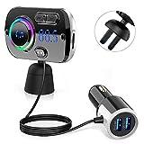 Trasmettitore Fm Bluetooth 5.0 QINFOX 2-in-1 FM Transmitter per Auto Radio Adattatori Vivavoce Car kit 7 colori LED Supporto Siri con 2 Porte USB Supporta Scheda Chargement Rapide/TF/USB