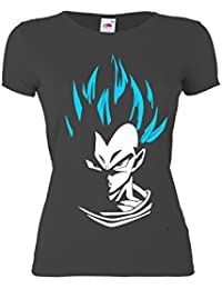 GIOVANI & RICCHI Damen Super Vegeta Goku Blaue Haare Fitness Shirt T-Shirt Saiyajin in verschiedenen Farben