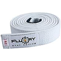 FLUORY BJJ Cinturón brasileño Jiu Jitsu con color blanco, morado, marrón, negro, para tamaño A0, A1, A2, A3, A4 (BTF01bai, A4)