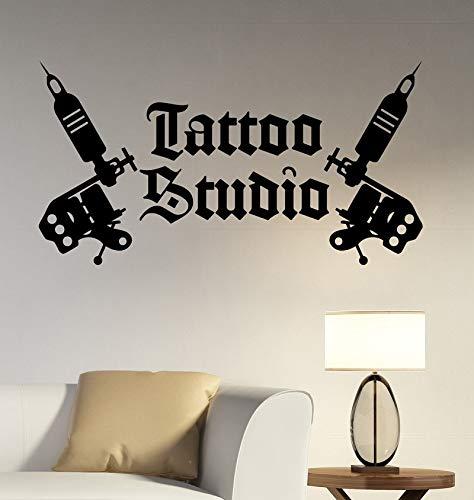 jiuyaomai Tattoo Studio Logo Wall Sticker Tattoo Machines Decalcomania del Vinile Decorazioni per la casa Tatuaggio Room Decor Tast3 107x57cm