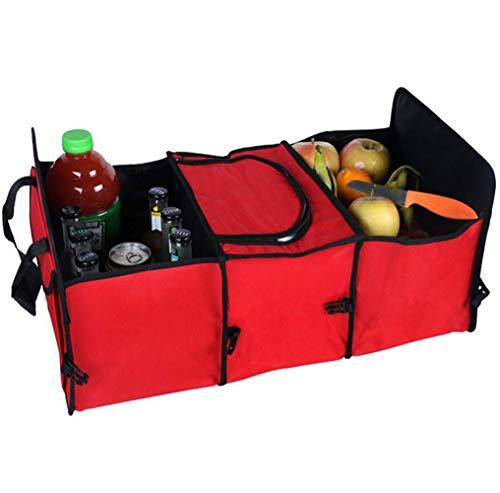 WPFC Faltbare Trunk Organizer Box, Fach Trunk Storage Box Car Organizer Rücksitz Mit Stretch Mesh Seitentasche Blau,Rot -