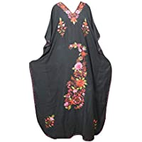 Mogul Interior Women Kaftan Dress Black Embellished Resort Wear Caftan OneSize