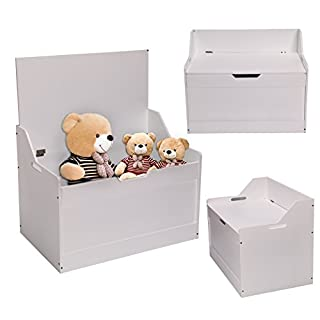 MultiWare Large Childrens Toy Box Room Storage White Chest Bedroom