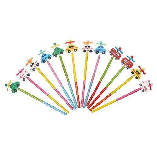 MagiDeal 12 Stk. Süß Holz- Bleistift mit Windmühle für Kinder, Schüler, Studenten Malen Zeichnen Skizzieren od. Büro Bedarf für Design