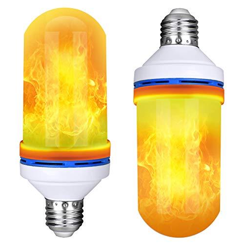 LED Flamme lampe, Queta Feuer Glühbirne, für Ambiente Dekoration, Halloween und Weihnachtsfest, 2 Satz, Basis E27 (4 Modus) (Tipps Dekoration Halloween Sicherheit)