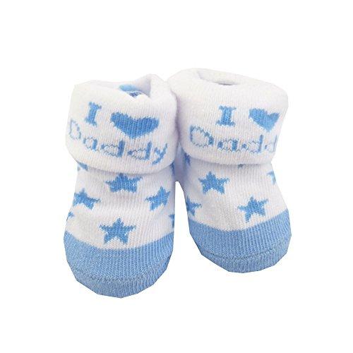 NEU   Jungen Strümpfe Socken weiß blau I Love Daddy   0 bis 12 Monate 6-12 Monate