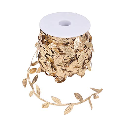 PandaHall Elite 25yards 30mm Nylon Leaf Ribbon Trim Spule für DIY Handwerk Geschenkverpackung Party Dekoration, gelb -
