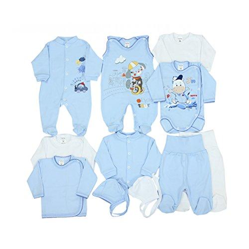 11-tlg. Set Baby Erstausstattung Bekleidung: Strampler Wickelshirts Schlafanzug Wickelbodys Strampelhose Mütze, Farbe: Blau Hündchen, Größe: 56