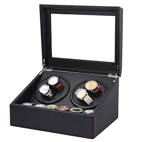 DSYYF Automatischer Uhrenbeweger Collector, Kohlefaser Uhrenbeweger 4 + 6 mit Dual Power Supply, Large Capacity