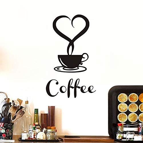 YuanMinglu Taza de café Apliques Etiqueta de la Pared Restaurante con Cotizaciones de Vinilo en Forma de corazón Cocina extraíble decoración del hogar Arte calcomanía 66X39 cm