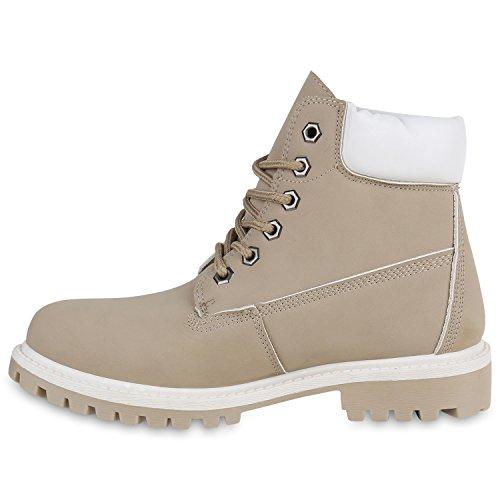 Stiefelparadies Damen Herren Unisex Worker Boots Profilsohle Outdoor Stiefeletten Warm Gefütterte Schuhe Camouflage Denim Übergrößen Flandell Creme Weiss Brooklyn