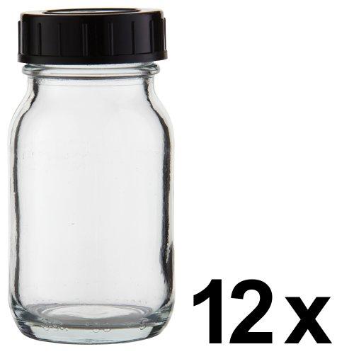 Drucker-tinten-lager (12 x Weithalsflasche 100ml Klarglas inkl. Schraubverschluss mit Dichtungsscheibe *** Weithalsflaschen, Schraubgläser, Weithalsgläser, Glasdosen, Allzweckgläser, Haushaltsgläser, Weithalsglas, Schraubglas, Allzweckglas, Haushaltsglas ***)