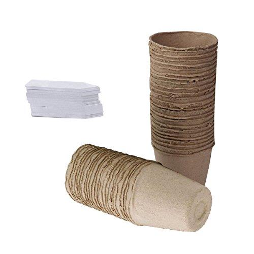 Tlsd Biodégradable Plante Chou Fleur Pots de Semis, Lot de 100 Pots Ronds en Fibre 8 cm de Tourbe avec 100 Pcs Plastique étiquettes pour Plantes Blanc