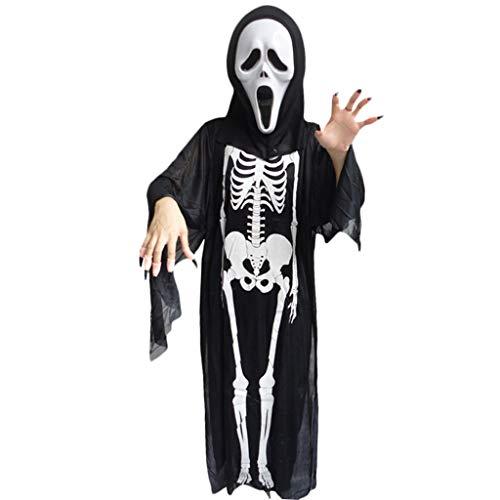 Tinaa Geisterkostüm Horror mit Maske Skelett Handschuhe Cosplay Halloween Party - Kostüm De Vampir Pour Halloween