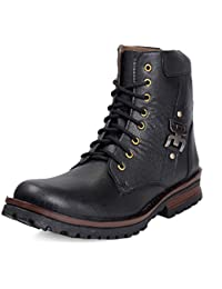 Rockfield Men's Black Leather Boot Shoes