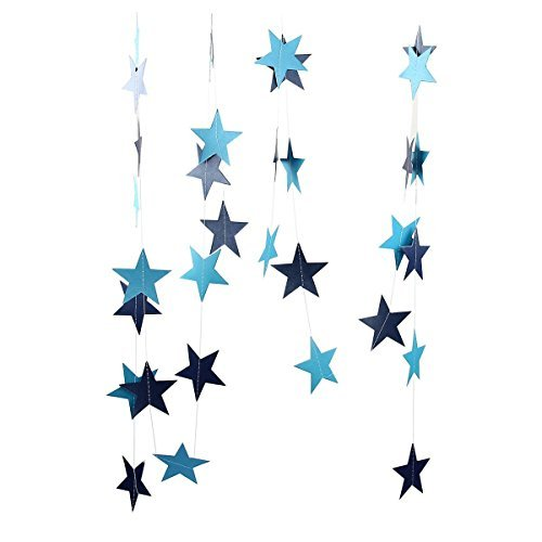 Da.Wa 4M Bunting Colgantes Salón de Fiestas la Boda de Papel de Estrellas Guirnaldas de Cumpleaños Decoración de Su Casa