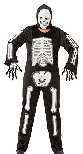 r-dessous hochwertiges Skelett Damen Herren 3D Kostüm Unisex Gerippe Knochen Horror Halloween Kostüm Karneval Groesse: L/XL