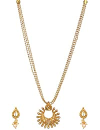Reeti Fashions Traditional Gold Plated Multi-Strand Necklace Set For Women (RF17_10B_41)