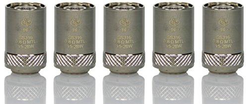 BF SS316 Verdampferköpfe 0.6 Ohm (5 Stück) - Cubis, eGo Aio, Cubis Pro, eVic Aio, etc. (Ohne Nikotin und Tabak frei)