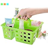 Orped Divided 3-Compartment Plastic Tote Caddies Baskets With Handle Bathroom Kitchen Home Office Storage Basket - 1pc(Multi Color)