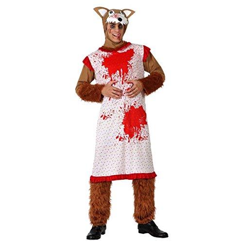 Imagen de mela proibita  disfraz halloween carnaval lobo malo caperucita roja ensangrentado de la abuela  multicolor, xl