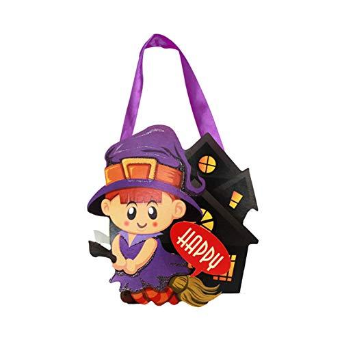 Cosanter Halloween Papier Kleinen Korb Tragbare Süßigkeiten Tasche Kinder Make-up Party Kostüme (Hexenmuster)