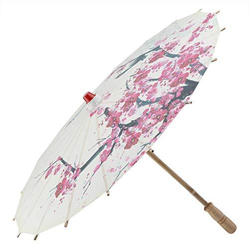 Paraguas, retráctil, clásico, hecho a mano, aceite, papel, paraguas, pintura, accesorios de baile, a prueba de lluvia, sombrilla con flores de ciruelo y mango de madera