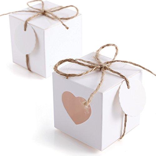 CLE DE TOUS - Set de 50pcs/100pcs Cajas para dulces bombones Cajitas de boda regalo Rústico Caja de cuadro con Corazón Transparente + 50pcs/100pcs Etiquetas con cuerda Gift Tags (100pcs)