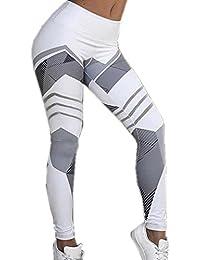 Leggings de Sport - Brawdress Femmes - Skinny Élastique Taille Haute à Imprimé Géométrique Blanc/Noir