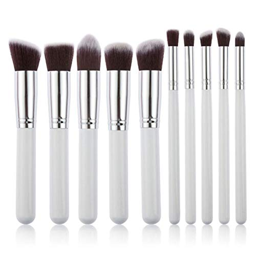 10 pcs Synthetic Kabuki Makeup Brush Set Cosmetics Foundation Blending Blush Makeup Tool -