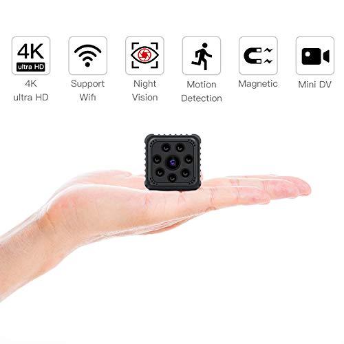 Mini Kamera, SZMDLX Full HD 4K/1080P Tragbare Kleine Überwachungskamera, Mikro Nanny Cam WiFi IP Kamera mit Bewegungserkennung und Infrarot Nachtsicht, compact Sicherheit Kamera für Innen und Aussen Wifi Spy