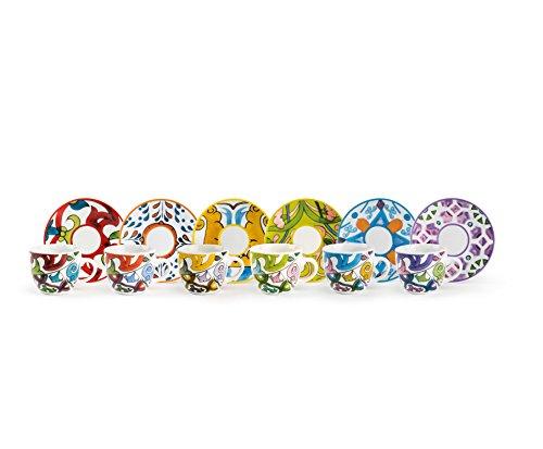 Excelsa lisbona servizio tazzine da caffè con piattino, multicolore