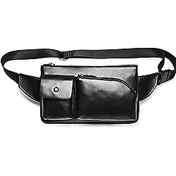 iVotre Cuero De La Pu Para Hombre Casual Hombro Sling Bag Material De Nylon Waist Bag Brand New Cruz Cuerpo De La Bolsa De Gran Capacidad Multi - Pock De Moda Y Funcional - Pu Negro