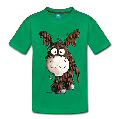 Spreadshirt Drolliger Poitou Esel Kinder Premium T-Shirt, 110/116 (4 Jahre), Kelly Green