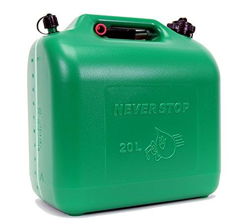 Preisvergleich Produktbild Never Stop Kraftstoffkanister Kunststoff grün 20 Liter Kanister