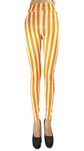 Ouye Damen Sexy Skinny Gestreift Elastische Leggings Weiß Orange
