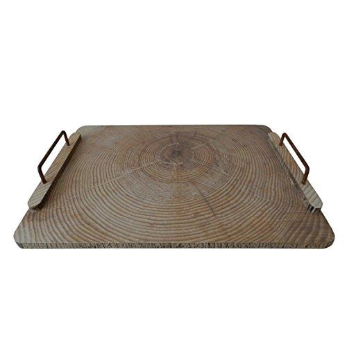 CVHOMEDECO. Rectángulo de bandeja de madera con mango de metal Bandeja de madera para vajilla de comedor, cocina o comedor, desayuno, bandeja de la mesa de café. 43,8 x 29,8 x 6 cm