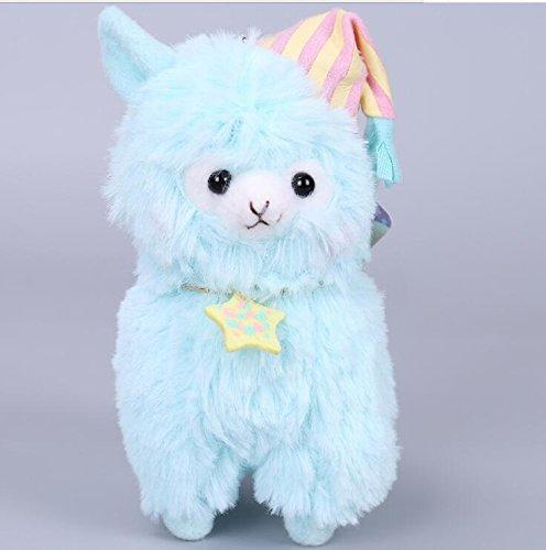 Cute and Soft Durable Plüsch Alpaka mit Pyjamas und Nightcap Plüsch Stofftiere Schlafanzug Alpaka Spielzeug für Jungen und Mädchen 14cm (blau) (- Mädchen Für Penguin-schlafanzug)