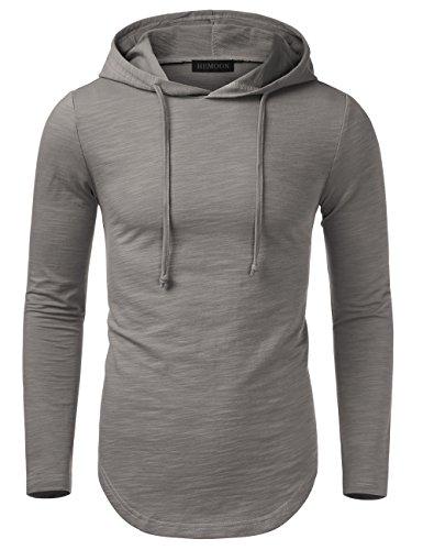 HEMOON Herren Basic Kapuzenpullover Hoodie Sweatshirt Grau