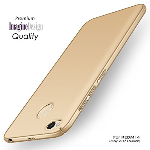 WOW Imagine All Sides Protection '360 Degree' Sleek Rubberised Matte Hard Case Back Cover For XIAOMI MI REDMI 4 ( MAY 2017 LAUNCH ) - Champagne Gold