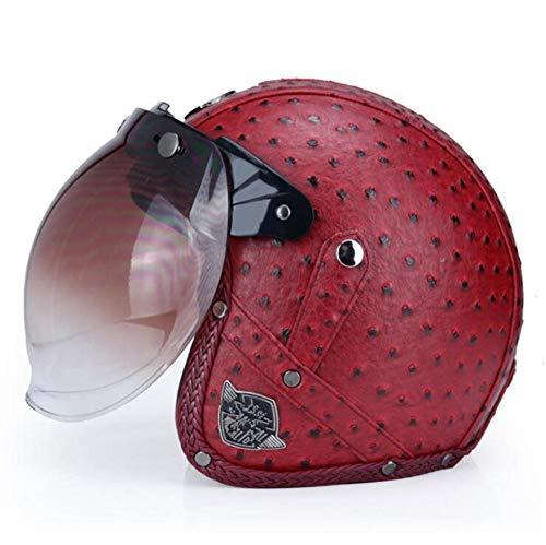 Qiutianchen Casco moto Vintage Harley Casco moto casco incrociatore 3/4 in pelle Casco moto jet aperto Jet Casco motociclistico@Punto d'onda rosso con lente a bolle_L