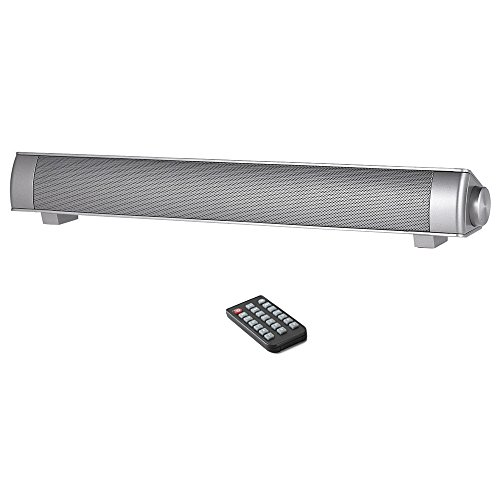 SemFri Soundbar Wireless Bluetooth 4.0 Lautsprecher mit Fernbedienung Play Stereo Surround Bass Musik und eingebautes Mikrofon für Freisprechanlagen (Silber)
