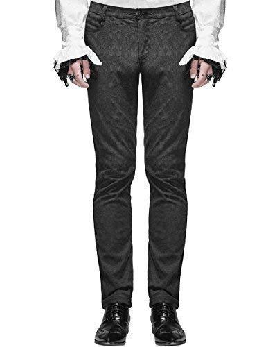 Devil Fashion Pantalones para Hombre Pantalones Negros Brocado Gótico Steampunk Vintage Aristocrat - Negro, X-Large