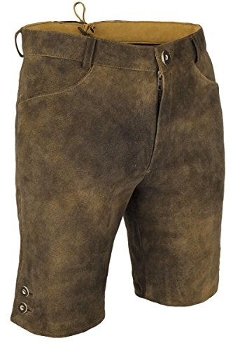 Herren Spieth & Wensky Kurze Lederhose antik schlicht rehbraun, rehbraun, 52