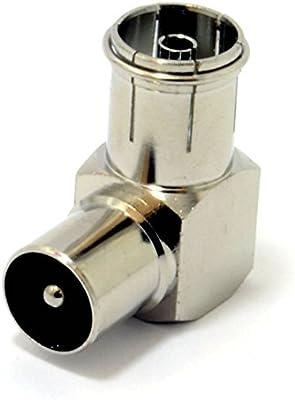 RF Derecho ángulo Adaptador Clavija A Enchufe Para TV Coax Aéreo Cables Metal