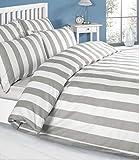 Parure de lit de couleur blanc-gris blanc - 100 % coton housse de couette et taies...